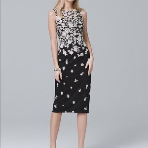 White House Black Market Floral Embroidered Sheath